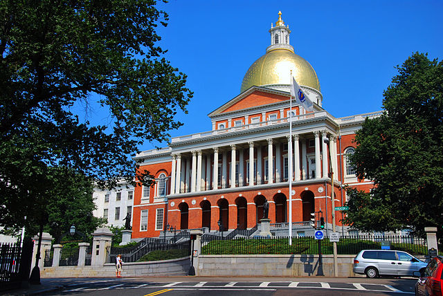 The Massachusetts State House, seen from outside